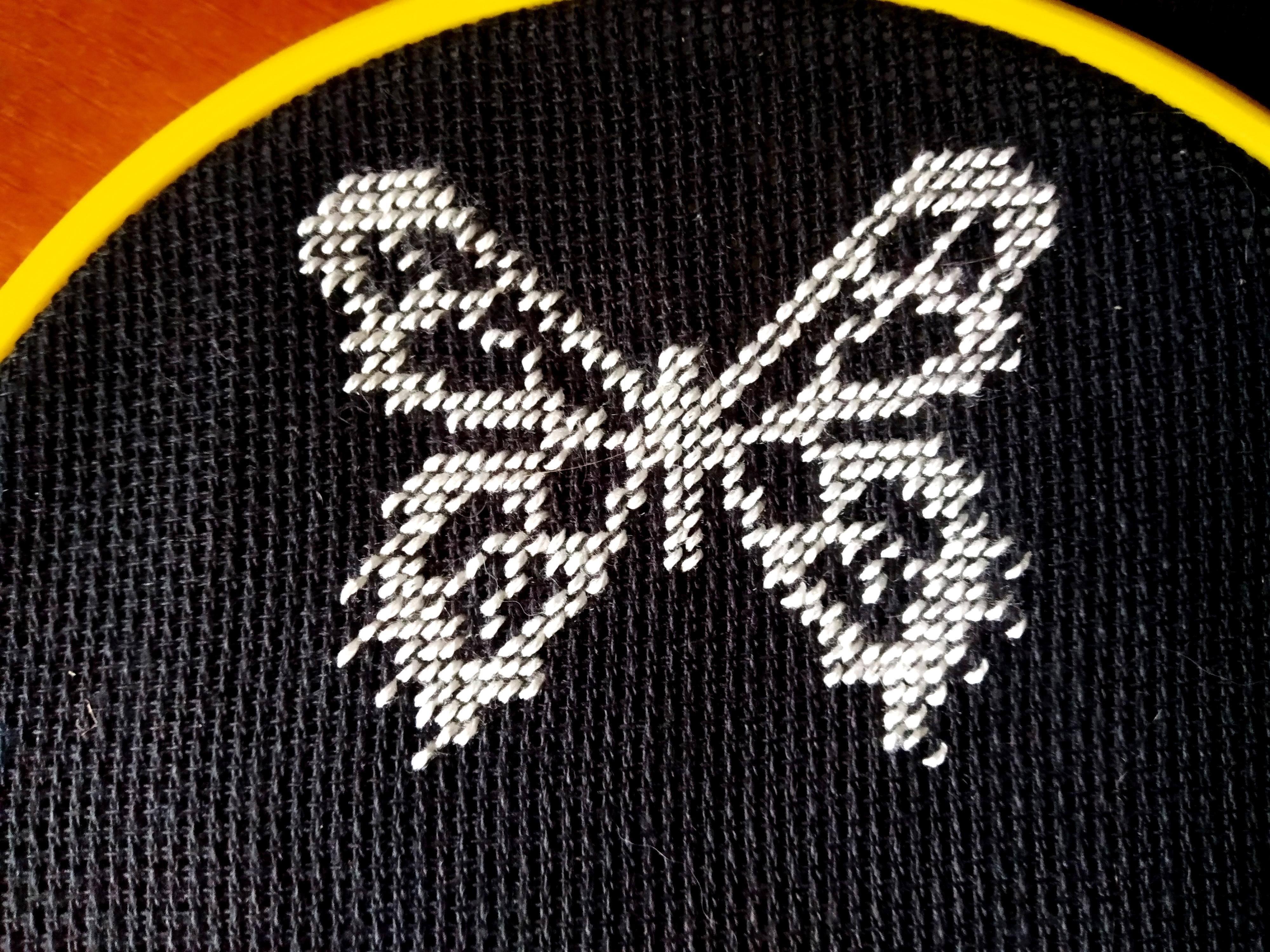 Готовая бабочка, вышитая полукрестиком