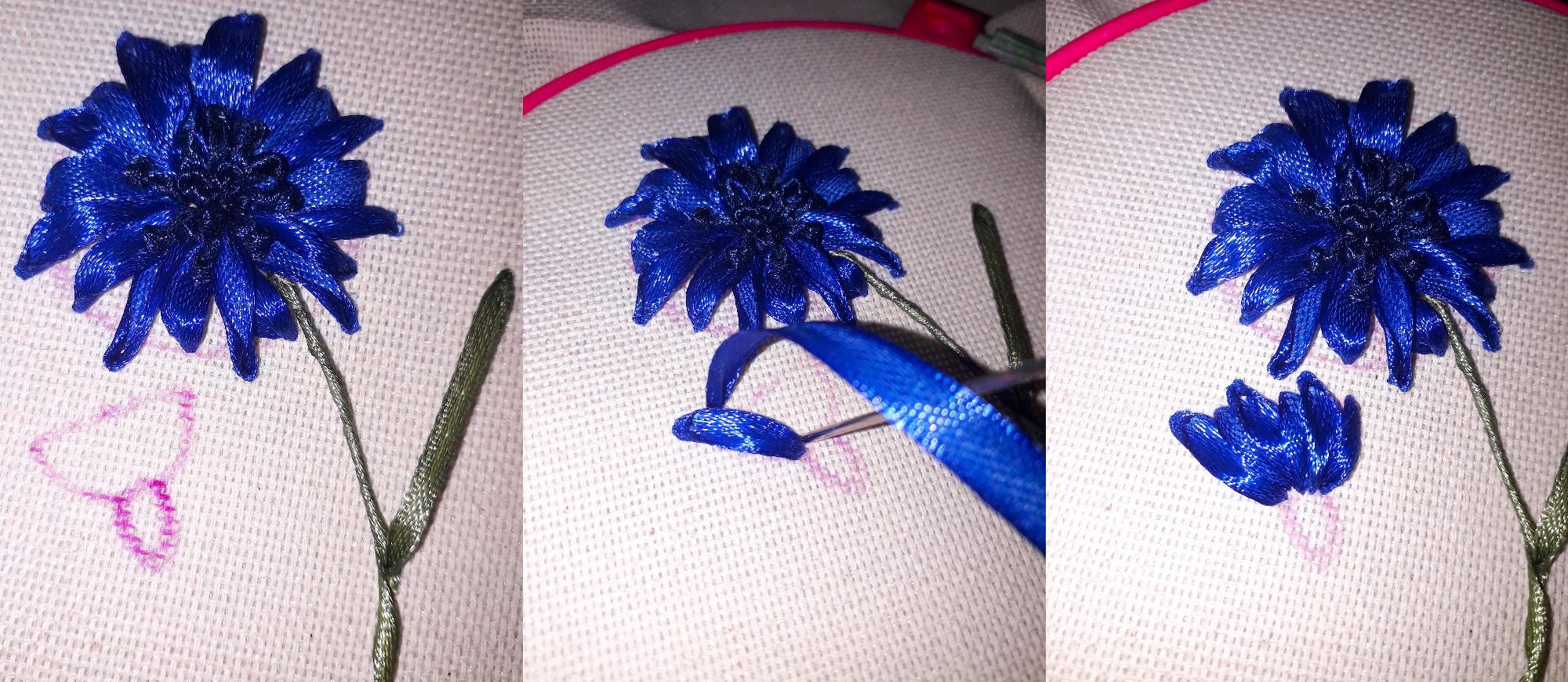 Мастер-класс по вышивке лентами васильков