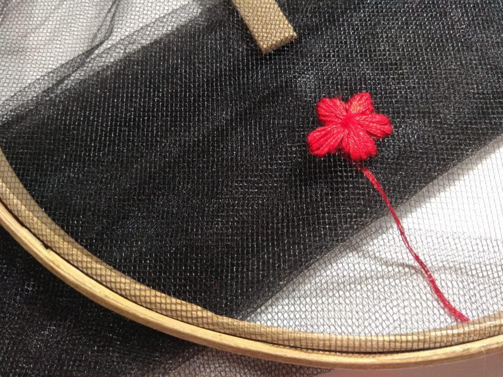 Как сделать вышивку на фатине?