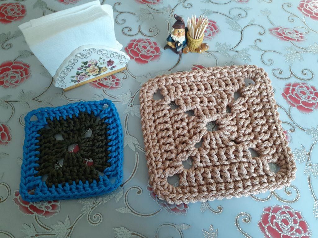 Вяжем квадратный коврик своими руками